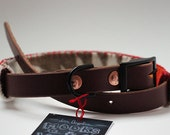 Leather Dog Collar With Pendleton Wool Collar Slip in Chestnut