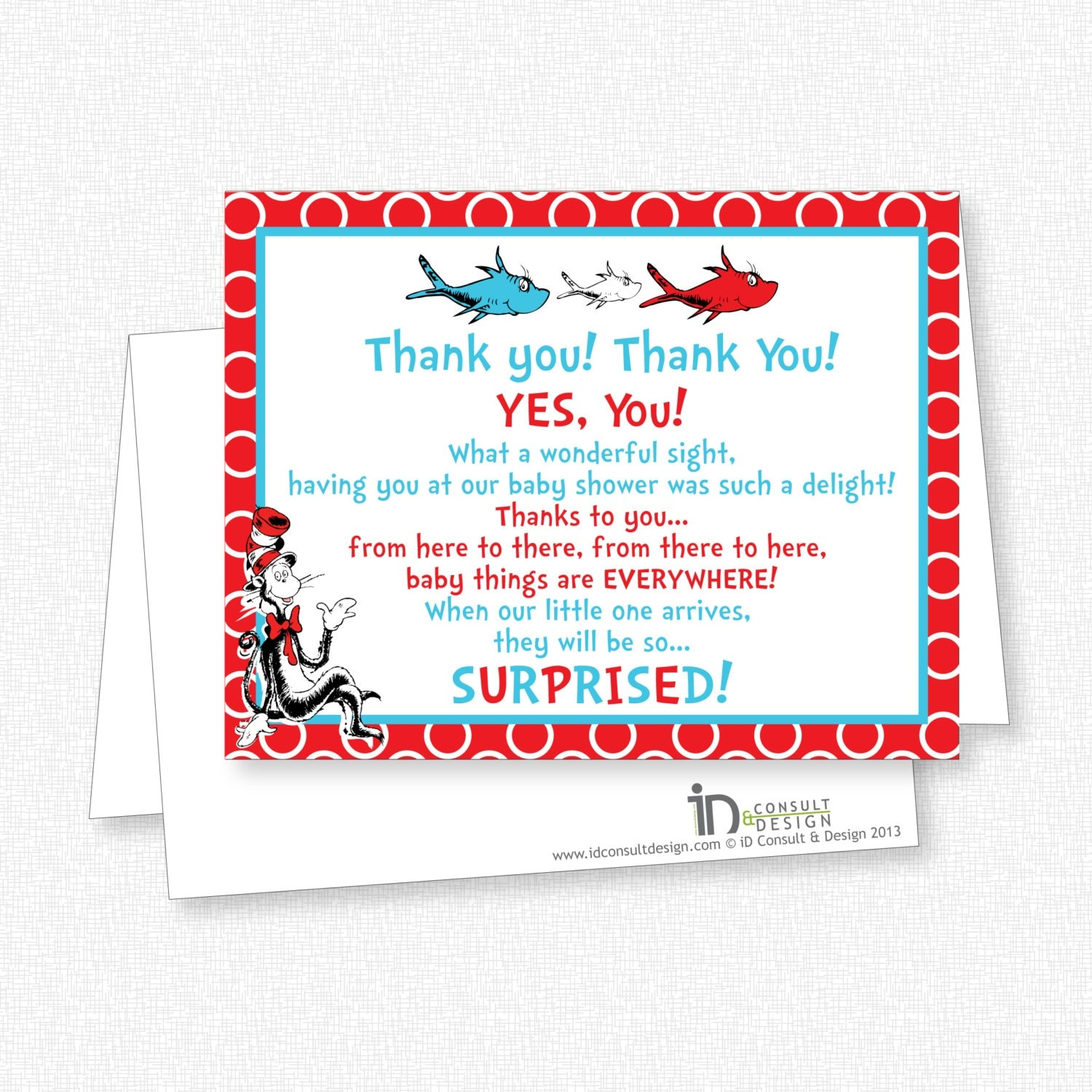 dr seuss baby shower thank you note card by gridcreativestudio