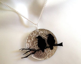dramatic black / silver perspex 'crows on a branch and a silver moon'..necklace