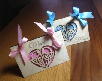 Birch wood laser cut 'Mothers Day' cards..Cetic Heart or Floral design