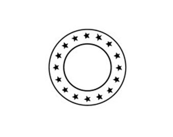 Unmounted Rubber Stamp Faux Postage Circle With Stars