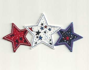 Patriotic, Triple Stars Patch. Kids Size! Custom Made!