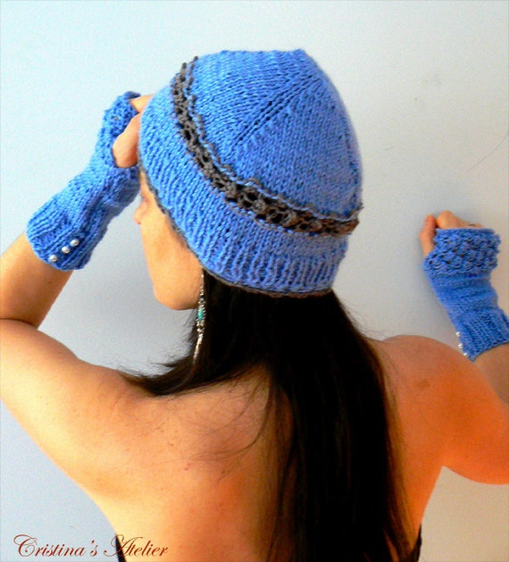 Blue knitted hat. Handmade knitted milk wool hat. Fashion knitted eco friendly hat. Blue knitted beanie. Chic knitted hat.Women's blue gift
