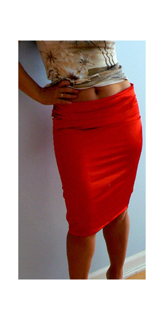 Red satin low rise pencil skirt. Women fitted stretch skirts.