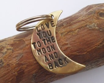I Love You To the Moon and Back Keychain Personalized Jewelry Christmas Gift Women Men Metal Key Chain Anniversary Bronze Gift for Him Her