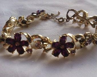vintage purple rhinestone flower design Coro bracelet