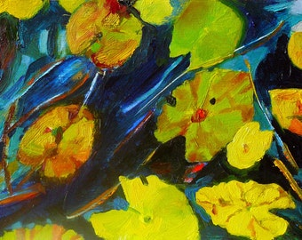 NOT AVAILABLE Lily Leaves 2. Original oil painting