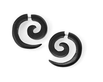 Lumni  (Blk)..Fake Gauges, Handmade, Wood Earrings, Cheaters, Organic, Plugs, Split, Tribal Style