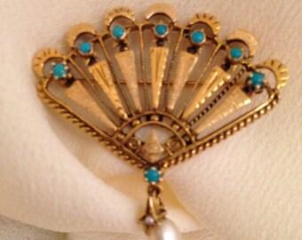 14 K Turquoise, mid century modern, hollywood regency, fan brooch pin