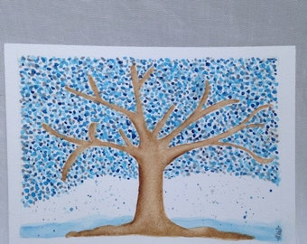 Winter Flurries Original Watercolor by SunChickie Arts