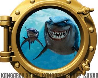 Nemo Shark Porthole Wall Decal