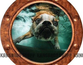 Underwater Dog 16 Porthole Wall Decal