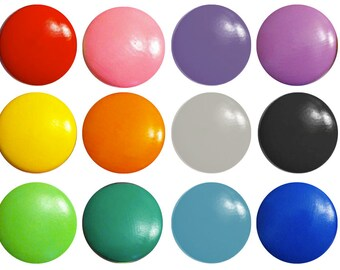 1.25 inch Solid Color Hand Painted Drawer Pull, Rainbow Drawer Knob