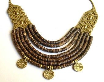 Ethnic Tribal Coconut Macrame Necklace with brass gold brown Goa Gypsy Boho Statement Hippie Makramee Made to Order
