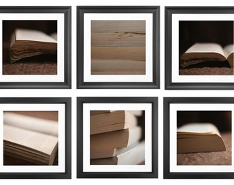 Books 6 Set Photographs, Instant Collection, Abstract Photography, Novels, Paper, Retro and Vintage, Brown Cream, Unframed Photography Set