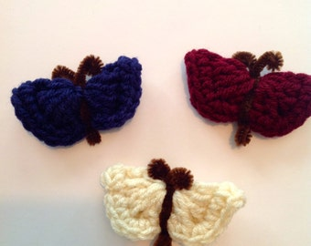 Maroon, Cream, and Navy Blue Butterfly Magnet Set