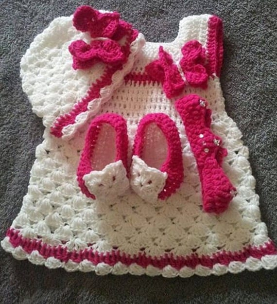 crochet baby dress pattern for new born to six months old ,instant download
