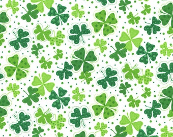 Luck of the Irish Cotton Fabric Collection! St. Patrick's Day Lucky Clovers & Irish Flags! [Choose Your Cut Size]