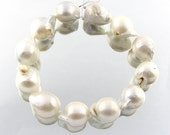 "50% OFF 8"" 10-12pcs Large 17-18mm Baroque White Silvery Grey Fresh Water Culture Pearl Beads like South Sea Pearls BP007"