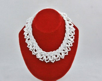 White Beaded Collar Bib Neclace 1950s