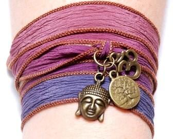 Hand Dyed Silk Ribbon Bracelet Buddha Yoga Jewelry Silk Wrap Bracelet, Om Jewelry, Wrapped Bracelet Tree of Life Dragonfly  Christmas Gift