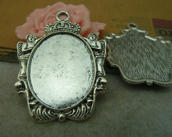 5PCS 25x32mm Antique Silver Oval Bezel Cup Cabochon Mountings Behind with Ring  AC4174-2