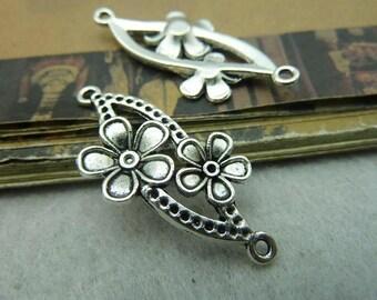 30pcs 17x37mm Antique Silver Twoflower Connectors Charms Pendants Jewelry Accessories Ac5858