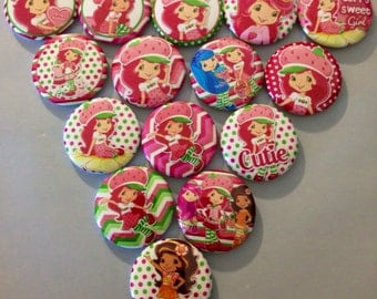 Strawberry Shortcake Flatbacks, crafts, bottlecaps, scrapbooking cabachons