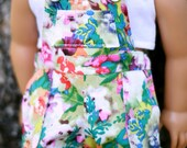 """Tidal Shorts, Overall Shorts in a Floral Sateen Fabric with Snaps, to fit American Girl And other 18"""" Dolls"""