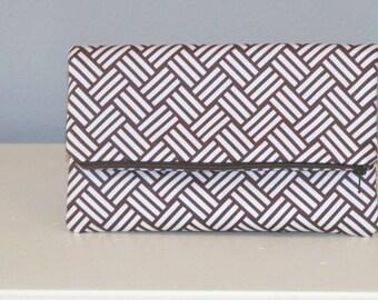Clutch Bag / Clutch Purse / Foldover Zipper Clutch Bag / Zipper Pouch / Handbag /   Brown and White