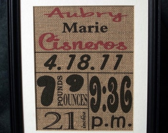 Personalized Burlap Baby Stats, custom baby burlap wall hanging,nursery decor,personalized baby subway art, baby shower gift