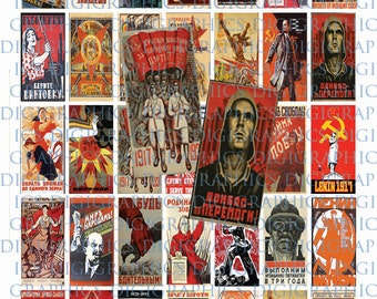Constructivist Russian Revolution Posters 1X2 Domino Sized print out digital sheet.