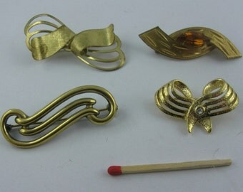 """10% OFF: 40s to 80s. KONVOLUT fashion jewelry """"cute LOOPS"""". 4 brooches. Vintage"""