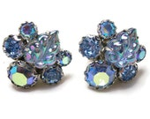 Vintage Weiss Blue Earrings - Blue Aurora Borealis Rhinestone Earrings - Weiss Blue and Rhodium Clip Ons