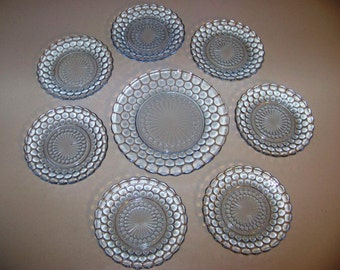 Anchor Hocking Blue Bubble Set Of Eight Plates