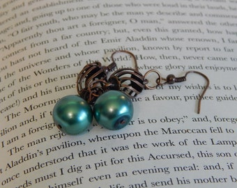 Copper Cage and Teal Pearl Earrings