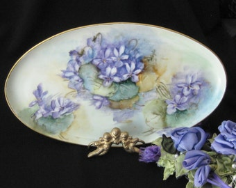 Antique Edwardian Pin Tray Hand Painted with Violets - Antique Porcelain - Austria