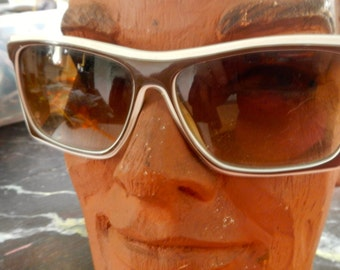 1960s Mod hip plastic brown and whitw  sunglasses marked Korea