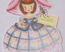 New American made childs children's retro greeting card die cut scrap cute Little Miss Muffet doll  scrapbooking party decorations crafts