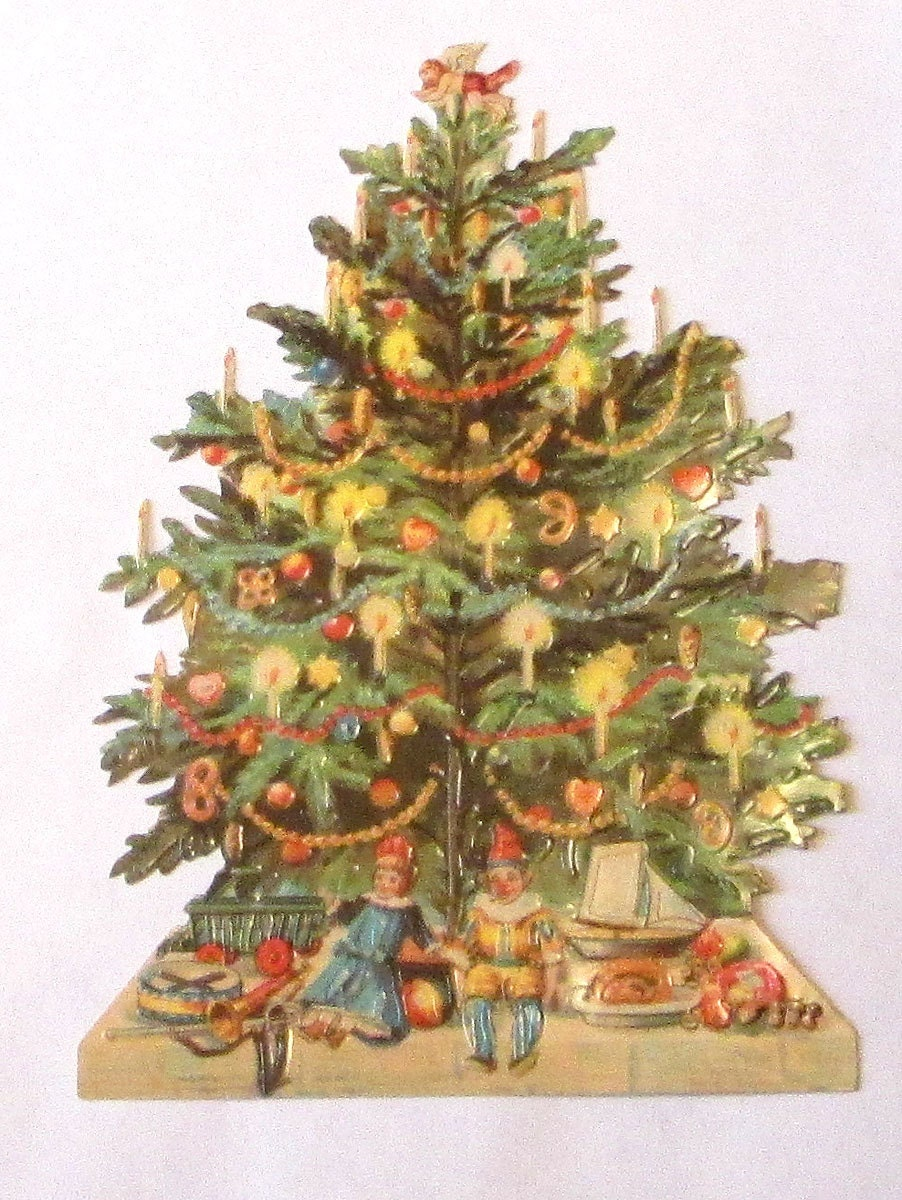 New german large victorian diecut scrap decorated christmas Large decorated christmas trees