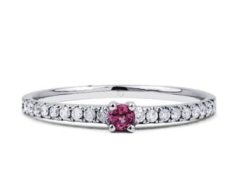 18ct White Gold Pink Sapphire and Diamond Engagement Ring
