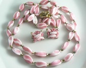 Alice Caviness Double Strand Pink Glass Necklace and Earring Set  Unique vintage, antique, costume and estate jewelry.