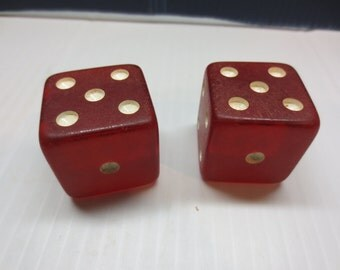 Two Vintage Jumbo Red Dice In Original Box