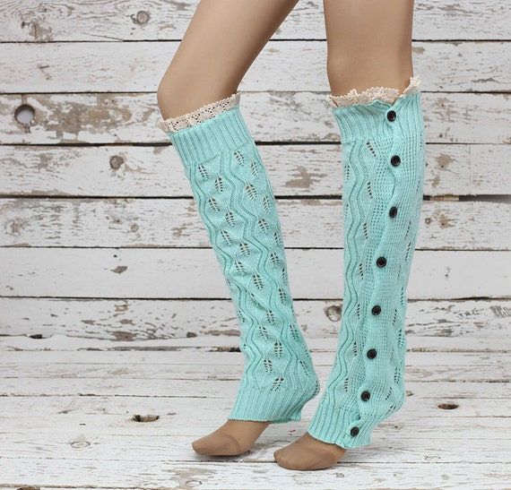 Knitted Leg Warmers Mint Lace Button Up Boot By DayfitFashion