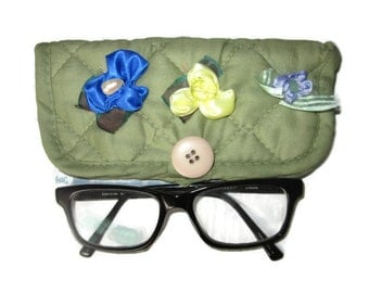 Mother's Day Gift, Green eyeglass case, Reading glasses case, Eyeglasses case