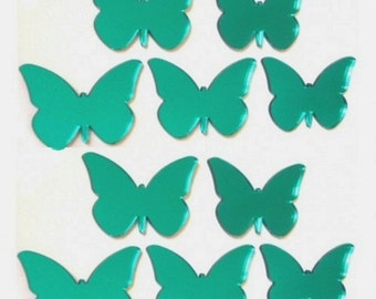 Green Butterfly Mirrors - Packs of 10 for Crafting and Decorative Use plus a single larger Green Butterfly