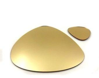 Sets of Pebble Placemats and Coasters - in Gold Mirrored Acrylic