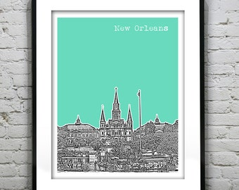 Presidents Day Sale 15% Off - New Orleans Skyline Poster Art Print French Quarter Jackson Square Louisiana  LA Version 12