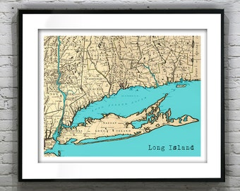 Long Island New York Poster Art Print Old Vintage Map
