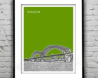 Memphis Tennessee City Skyline Poster Art Print Version 2